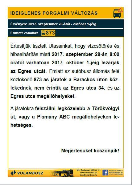 Egres út: lezárás csőtörés miatt