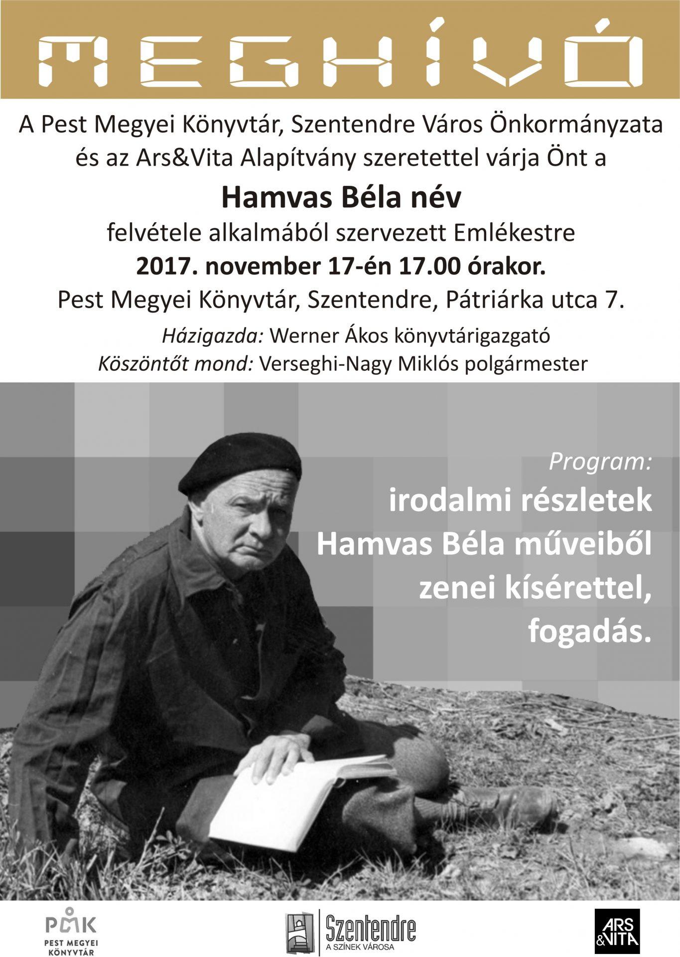 Hamvas Béla Emlékest és névadó ünnep