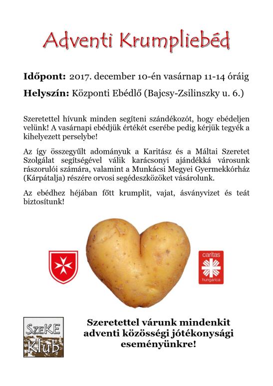 Adventi krumpliebéd december 10-én