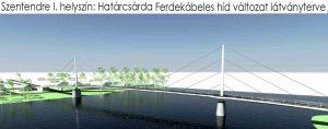 Látványterv Határcsárda ferde kábeles híd